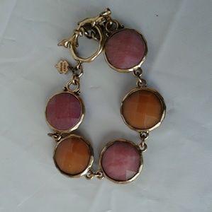Lucky Brand Bracelet Pink, Orange & Gold Linked